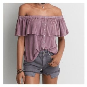 American Eagle Soft Sexy Top Medium Mauve Blouse
